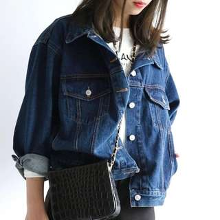 readystock  Women New Retro Casual Simple And Loose BF Style Denim Jacket