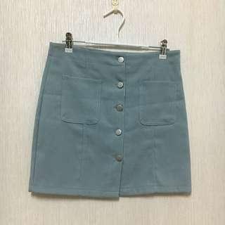 湖藍排扣裙