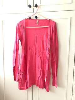 Black sexy top + cotton on pink cardigan