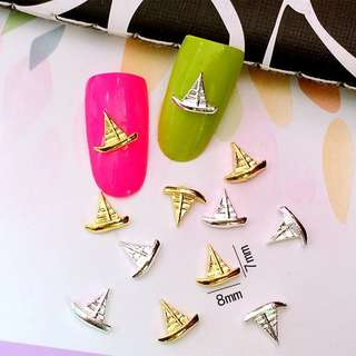 5pcs/Lot 7*8mm Gold and Silver Sailboat  3D DIY Metal Alloy Nail Art Decorations Nail Stickers Jewelry Accessories