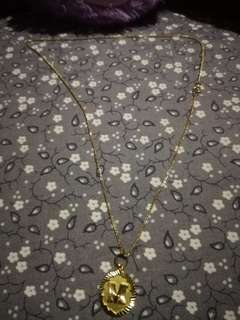 18k Golde Necklace with 'M' Pendanr