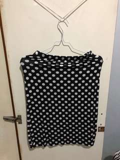 Black-White Polkadot Bodycon Mid-Length Skirt