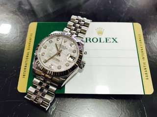 Authentic Rolex Boy 31mm Meteorite Dial Diamonds Midsize 178274