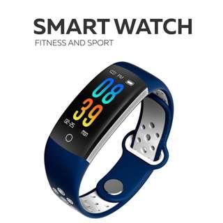 智能手環- WHATSAPP Line FB Wechat 信息顯示/來電顯示/拒接來電/遙控影相/血壓,心率監測/卡路里計算 /計步器/睡眠監測 Bluetooth smart watch Pedometer 防水IP68 (blue)