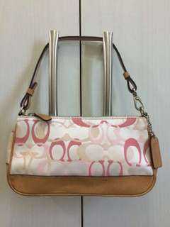 Pre-loved Purse Small White with Pink Satin Shoulder Bag