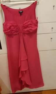 Pretty Pink Party Branded Midi Dress with Ruffles
