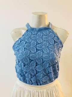 Blue lace halter top