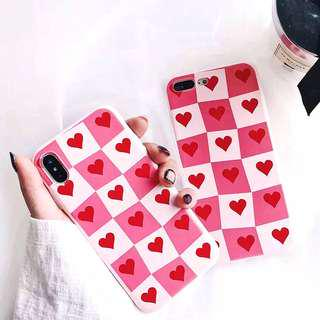 (PO) Love Heart Shapes All Over Checkered Print Alice Queen Of Hearts Style iPhone Casing