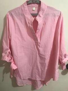 Uno Qi baby pink quarter sleeve top