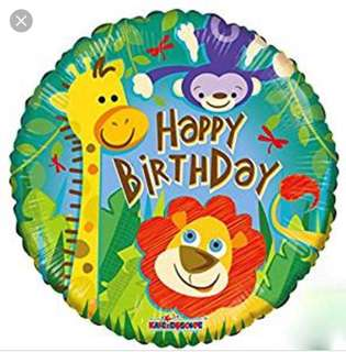 (18/6) Include helium Happy Birthday Jungle/ Safari animals theme Foil Balloon (Kaleidoscope)