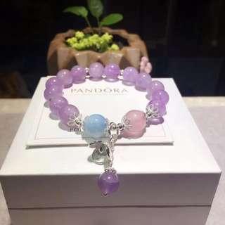 天然薰衣草紫水晶+海藍寶馬粉手鏈