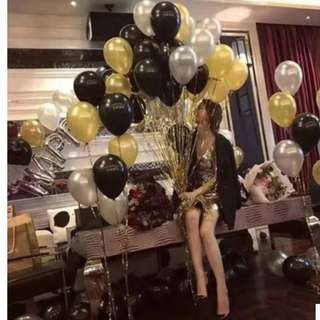 🚚 (IN Stock)Party Balloons(50pcs,gold&Silver&black)