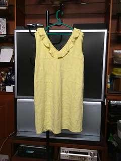 MANGO Yellow Plunge Frill Dress