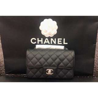 Chanel mini coco cf 20cm 黑銀