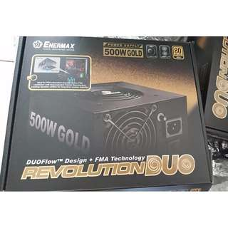 Enermax Revolution DUO 500W DUOFlow design 80+ Gold Certified Power Supply Ideal for PSU Shrouds and Patented FMA (Fan-speed Manual Adjustment) Technology, Black ERD500AWL-F