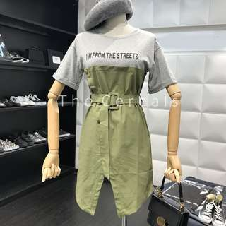 TC2437 Korea 2 In 1 Trench Dress (Green,Khakis)