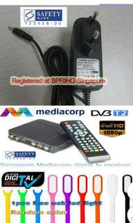 Singapore Mediacorp Digital TV Channels Setup Box / Antenna Included / HD DVB-T2 Terrestrial receiver tuner / SPRING Singapore Registered Power Adaptor Safety Mark / Recording Features