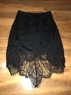 Glamorous black lace skirt