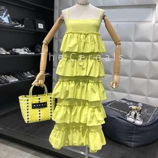 TC2438 Korea Frill Layers Dress (Yellow,Blue,White,Black)