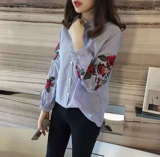 Floral Embroidery Blouse Lantern Long Sleeve