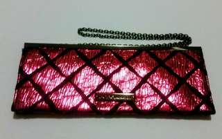 BCBG Metallic Pink Clutch Handbag