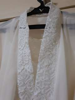 Laced Bridal Robe with Satin Inner (Ivory white)
