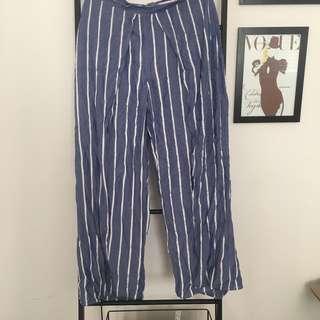 Striped Slit Leg Pants