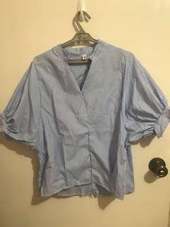 Miss Costume blue stripes quarter sleeve top