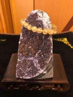 烏拉圭異像共生金紫晶簇(鎮)附木座擺設(售價不連髮晶串)