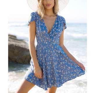 Ocean Blue Floral Dress