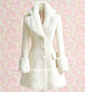 Women's White Fur Collar Winter Coat
