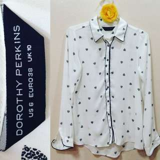 New:Dorothy Perkins white longsleeves polo top