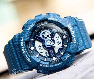 🚚 RARE🌟SEEN BABYG WATCH : 1-YEAR OFFICIAL WARRANTY: 100% ORIGINAL BABY-G SHOCK In DENIM BLUE JEANS COLOUR ABSOLUTELY TOUGHNESS Best Surprise Gift For Most Rough Users & Unisex : BA-110DC-2A2DR / BA-110 / BA110 / BA110DC