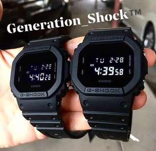 🚚 COUPLE💝SET GSHOCK CASIO DIVER SPORTS WATCH : 1-YEAR OFFICIAL VALID WARRANTY: 100% Originally Authentic G-SHOCK Resistant In Deep BLACK STEALTH MATT with Illuminator Light Best For Most Rough Users & Unisex DW-5600BB / DW5600BB / DW-5600 / DW5600