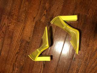 Brand new Perspex clear yellow block heels
