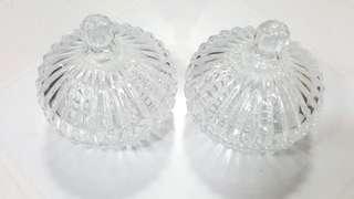 A Pair Of Glass Sugar Bowl