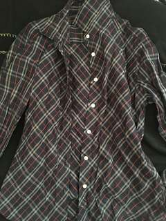 Burberry Blue Checkered Long Sleeves