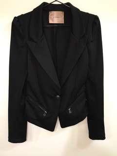 正韓—黑色單扣帥氣西裝外套