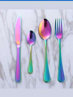 Sendok rainbow spoon cutlery korea set pelangi spoon fork