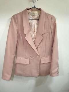 正韓—雪紡嫩粉色西裝外套