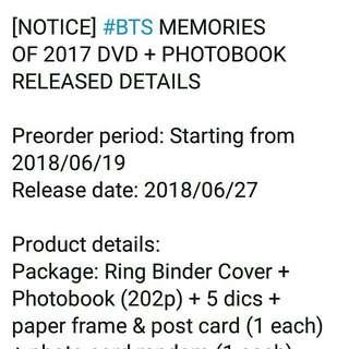 BTS MEMORIES 2017