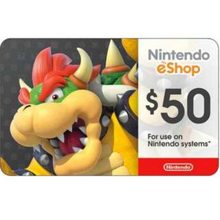 (Promotion!) $50 USD Nintendo E-Shop Card!