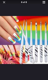 8 pc nail art design set dotting painting drawing polish brush