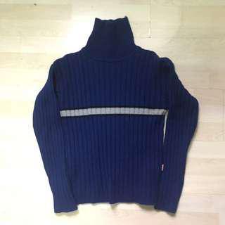 🍭含運 寶藍色 條紋 古著 毛衣 高領毛衣