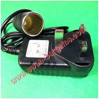 Good Quality 3 Pin UK Home Plug 100V - 240V AC to 12V DC Vehicle Car Cigarette Lighter Adapter Converter Voltage Transformer Charger 2000mA