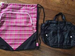 Take 2! Pink & Black Drawstring/Shoe Bag & Bag Organizer