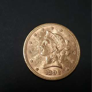 1892 US $10 Liberty Gold Coin with frame