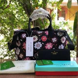 FREESHIP Kate Spade Lyla Bag and WALLET SET satchel handbag crossbody sling-floral print