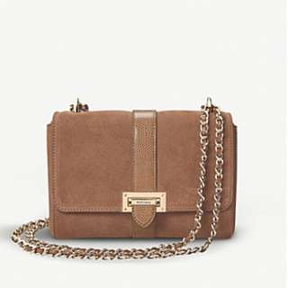 ASPINAL OF LONDON Lottie suede and lizard bag