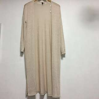 H&M extra long cream cardigan